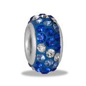 Blue Dimensional Slim Pave Bead by DaVinci