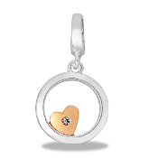Heart With Circle Drop Dangle For Lockets
