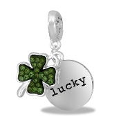 LUCKY/Shamrock Drop Dangle For Lockets