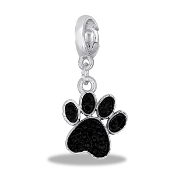 Black Crystal Paw Drop Dangle For Lockets