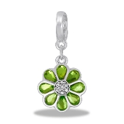 Flower - Chartruse Crystal - Drop Dangle For Lockets