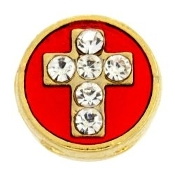 Cross Crystal, Red & Gold Charm For Lockets