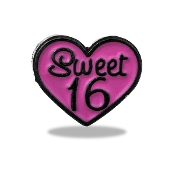 SWEET 16 Heart Charm For Lockets