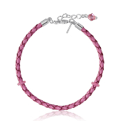 Pink Leather Braided Bracelet w/Rubber Stops - 2 Sizes
