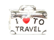 I LOVE TO TRAVEL Silver Suitcase Bead By Amanda Blu®