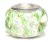 Textured Ribbed Lime Prima Glass Bead by Amanda Blu®