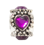 Purple Crystal Heart Silver Plate Bead by Amanda Blu®
