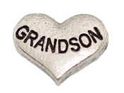 GRANDSON Silver Heart Charm For Lockets
