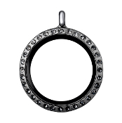 Round Gunmetal Crystal Locket