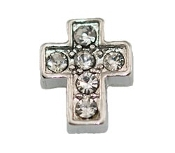 Silver Cross with Crystal Charm for Lockets