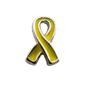 Yellow Support Our Troops Ribbon Charm for Lockets