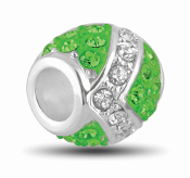 Emerald and Silver Decorative Crystal Bead by DaVinci®