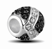 Onyx and Silver Decorative Crystal Bead by DaVinci®