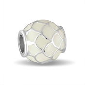 White Enameled Shell Scalloped Bead by DaVinci®