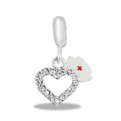 Nurses' Cap and Crystal Heart Dangle Bead by DaVinci®