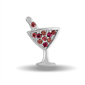 Martini Glass Crystal Large Charm for Keepsake Lockets