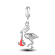 Stork with Pink Girl Charm for Beaded Jewelry