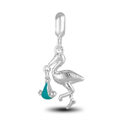 Stork with Blue Boy Charm for Beaded Jewelry