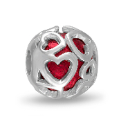 Red Hearts Cut Out DaVinci Bead