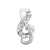 Treble Clef with Crystal Charm for Forever in My Heart Lockets