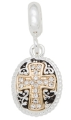 2 Toned Crystal Cross Dangle Bead For The DaVinci Collection