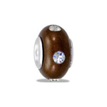 TRUNK SALE *No Further Discount* Brown Fimo CZ Bead