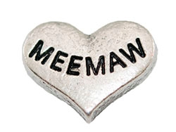 MEE MAW Silver Heart Charm For Lockets
