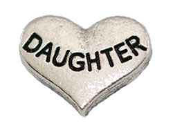 DAUGHTER Silver Heart Charm For Lockets